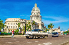 Classic American car in front of Capitol, Havana Royalty Free Stock Images