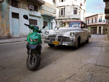 Classic american car in Old Havana. Classic DeSoto in a shabby neighborhood in Old Havana ubans could only trade cars that were on the road before 1959 Stock Photo