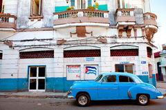 Classic american car parked in a street of Old Havana Stock Photography