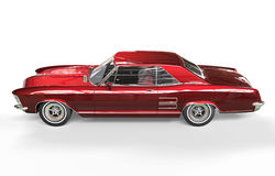 Classic American Car Red Metallic Side View Stock Photo
