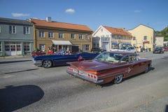 Classic American car running Royalty Free Stock Photos