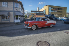 Classic American car running Stock Images
