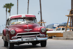 Classic american car on the street in Cuba Havana Stock Photo