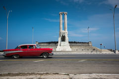 Classic american car on street of Havana in Cuba. Havana, Cuba - September 21, 2015:  Classic american car drive on Havana most popular sea fron promenade, El Royalty Free Stock Photography
