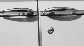Classic american car suicide door handles Royalty Free Stock Photo