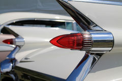 Classic american car tail lamps. Pointy tail lamps on 1959 cadillac stock photos