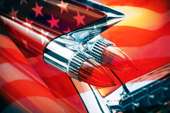 Classic American car. Taillight of a classic American car with United States flag Stock Photo