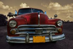 Beautiful old American car in outdoors setting in Cuba Stock Photo