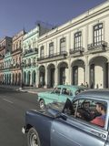 Classic American card on road in Havana, Cuba stock image
