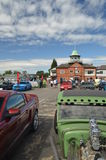 Classic American cars at Brooklands. Royalty Free Stock Photos