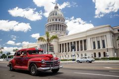 Classic American cars and Capitol in Havana, Cuba royalty free stock photos