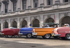 Classic american cars in Havana, Cuba. A series of vintage cars parked in Havana, Cuba stock image