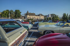 Classic American cars in a row Stock Images