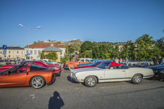 Classic American cars in a row Royalty Free Stock Photos