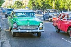 Classic American cars on street in Havana, Cuba Royalty Free Stock Photography