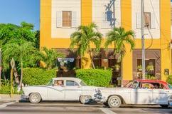 Classic American cars on street in Havana, Cuba Royalty Free Stock Photos