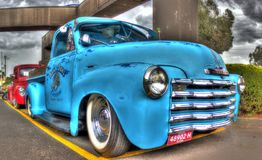 Classic American Chevy pickup truck. Classic light blue American made Chevy pickup truck on display at a car show in Melbourne, Australia Royalty Free Stock Images