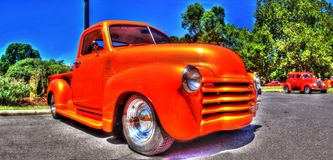 Classic American Chevy pickup truck. Classic orange Chevy pickup truck on display at a car show in Melbourne, Australia Stock Photography