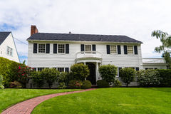 Classic American clapboard suburban house. Clapboard suburban house in classic American-style Stock Photo