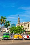 Classic American colorful cars in Havana, Cuba Royalty Free Stock Image