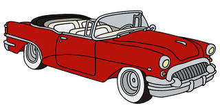 Classic american convertible. Hand drawing of a old american cabriolet Royalty Free Stock Photos