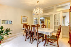 Classic American dining room interior. Royalty Free Stock Photo