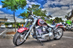 Classic American Harley Davidson motorcycle. Classic American Harley Davidson motorbike on display at a car and bike show in Melbourne, Australia stock photo
