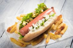 Classic american hot dog Stock Images