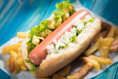 Classic american hot dog Royalty Free Stock Image