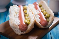 Classic american hot dog Royalty Free Stock Photos
