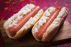 Classic american hot dog Royalty Free Stock Images