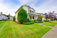 Classic american house exterior with curb appeal. Classic american house exterior entrance porch and curb appeal Royalty Free Stock Image