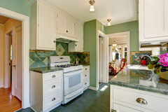 Classic American kitchen room interior in green and white tones Royalty Free Stock Image