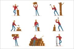 Classic American Lumberjack In Checkered Shirt Working Cutting And Chopping Wood With Cleaver And A Saw. Woodcutter Cartoon Character Working In Lumbering Set stock illustration