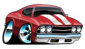 Classic American Muscle Car Cartoon, Bold Red, Vector Illustration. Sharp American classic car, hot red paint, white stripes, huge tires and rims, lots of chrome royalty free illustration