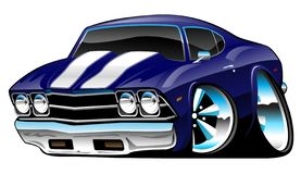 Classic American Muscle Car Cartoon, Deep Cobalt Blue, Vector Illustration. Sharp American classic car, deep blue paint, white stripes, huge tires and rims, lots royalty free illustration