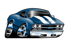 Classic American Muscle Car Cartoon Illustration Royalty Free Stock Photo