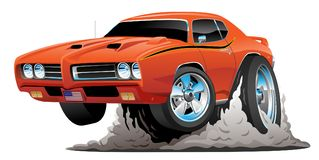 Classic American Muscle Car Cartoon Vector Illustration. Hot American muscle car cartoon. Bold orange paint, aggressive stance, big smoking tires, popping a vector illustration