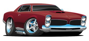 Classic American Muscle Car Cartoon Vector Illustration. Hot American muscle car cartoon. deep red paint, lots of chrome, aggressive stance, low profile, big stock illustration