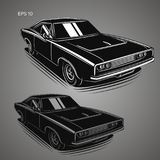 Classic american muscle car vector illustration. Powerfull vintage automobile. Legend car royalty free illustration