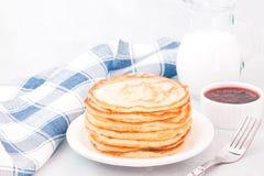 Classic american pancakes with raspberries jam stock photos
