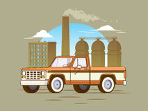 Classic American Pickup Truck Concept. With industrial manufacturing landscape in flat style vector illustration Stock Photo