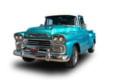 Classic american pickup truck. White background. Blue 1959 Chevrolet Apache 3100 classic pickup truck isolated on white background royalty free stock photography