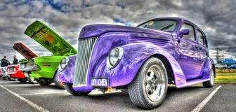 Classic American 1930s Chevy. Classic blue American 1937 purple Chevy on display at car and bike show in Melbourne, Australia Stock Images