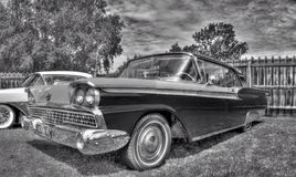Classic American 1950s Ford Galaxie in black and white Royalty Free Stock Image