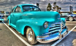 Classic 1940s American Chevy. Classic American 1940s light blue Chevy on display at car show in Melbourne, Australia Stock Images