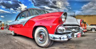 Classic American 1950s red and white Ford Fairlane royalty free stock photos