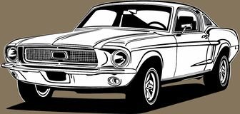 Free Classic American Vintage Retro Icon Of Muscle Car Ford Mustang Royalty Free Stock Image - 158960236