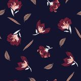 Classic And Beautiful Embroidery Flowers, Spring Seamless Patter Royalty Free Stock Image