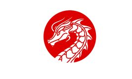 Dragon Badge Medallion Logo design inspiration. Classic, Antique, and easy to recognize. This is the right logo design for your company related to asia, asian Royalty Free Stock Photo
